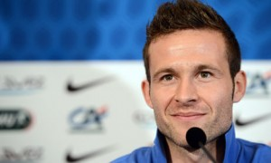 French midfielder Yohan Cabaye gives a press